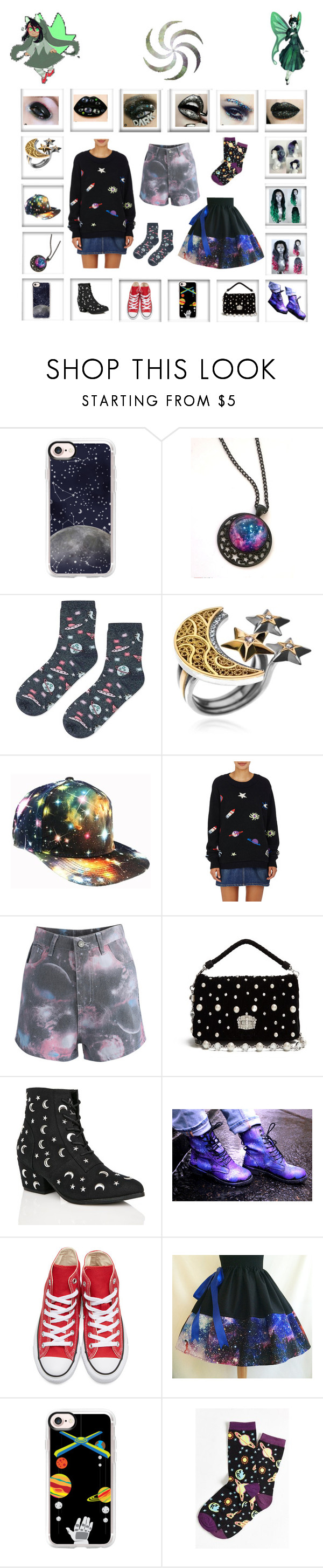 """""""Hero of space"""" by odscene ❤ liked on Polyvore featuring Casetify, Topshop, AZZA FAHMY, The Elder Statesman, Chicwish, Miu Miu, Y.R.U., Converse and Neon Moon"""