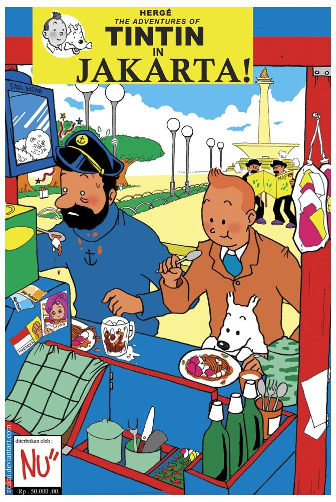 """""""according to the story in """"flight 714"""" tintin n friends is visitin jakarta but its only for a transit to the sidney ... at the momment when tintin at the plane , he read a brochure about culinary in jakarta , and then someday he decided to visitin jakarta again ... and now its time for tintin to take a break from his daily-solvin-mystery-life and start some culinary adventure here in jakarta"""" - Zeikai"""