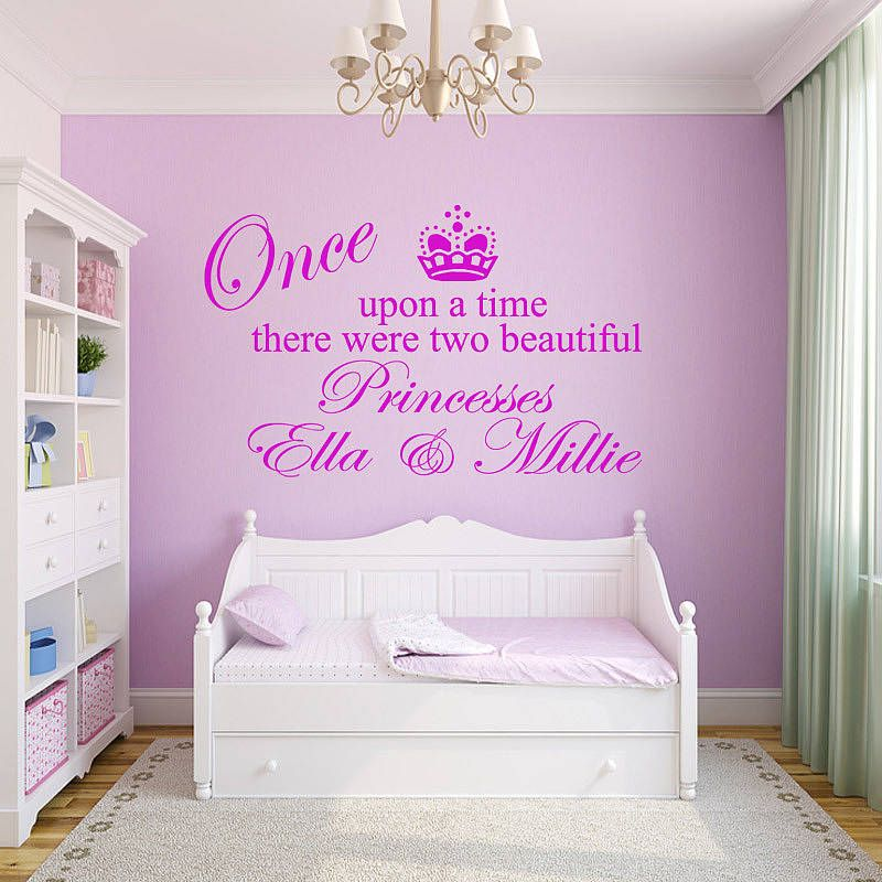 Personalised two princesses wall sticker by wall decals uk by gem designs notonthehighstreet com