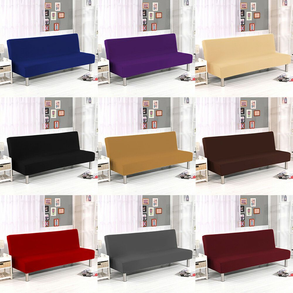 Armless Slipcover Folding Sofa Bed Cover Elastic Stretch Couch