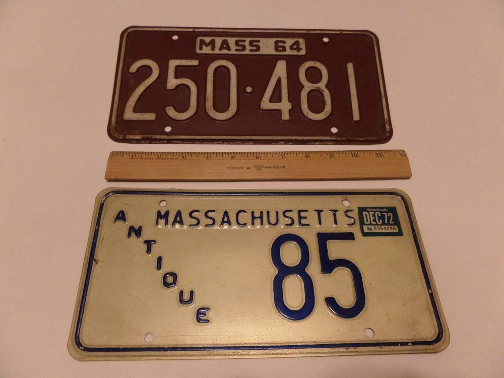 Massachusetts 2 lot license plates 1972 antique 85 1964