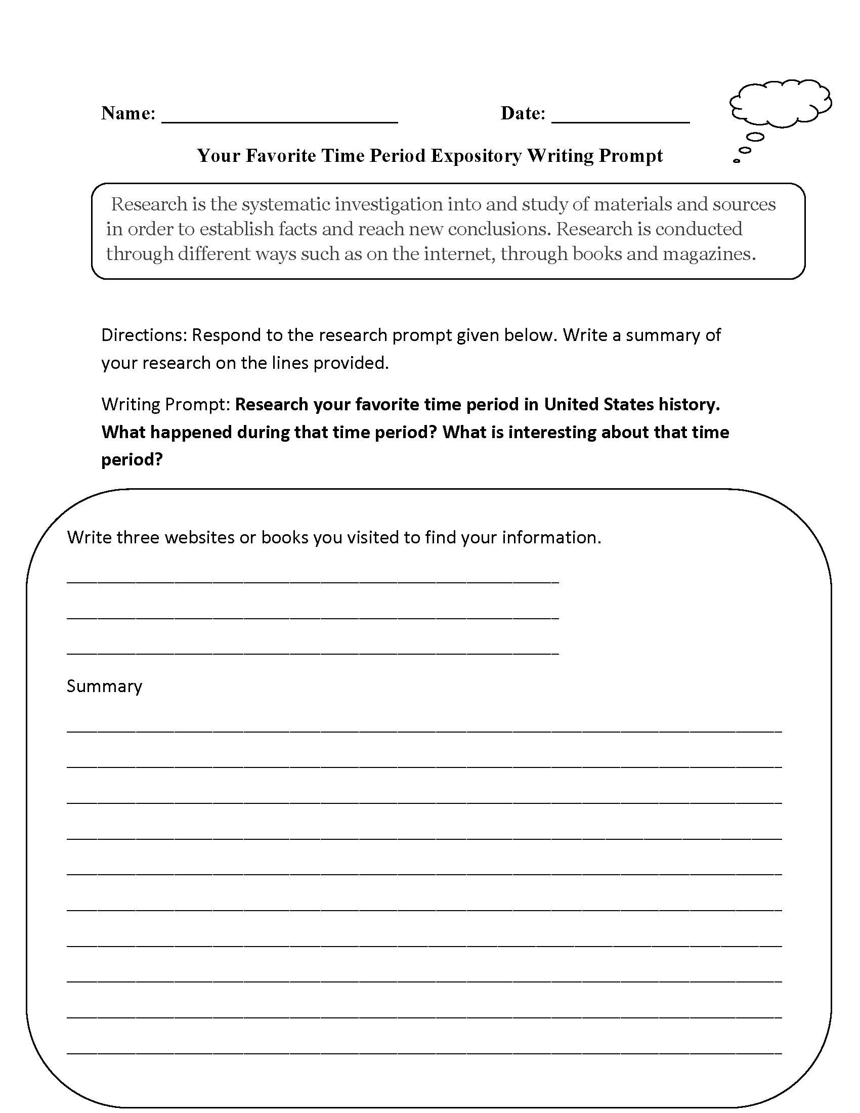 Favorite Time Period Expository Writing Prompt Worksheet