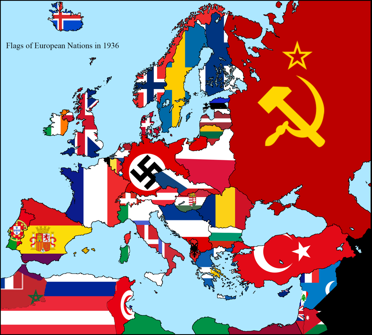 Map Of The Flags Of European Nations In The Year 1936 Flag Map History