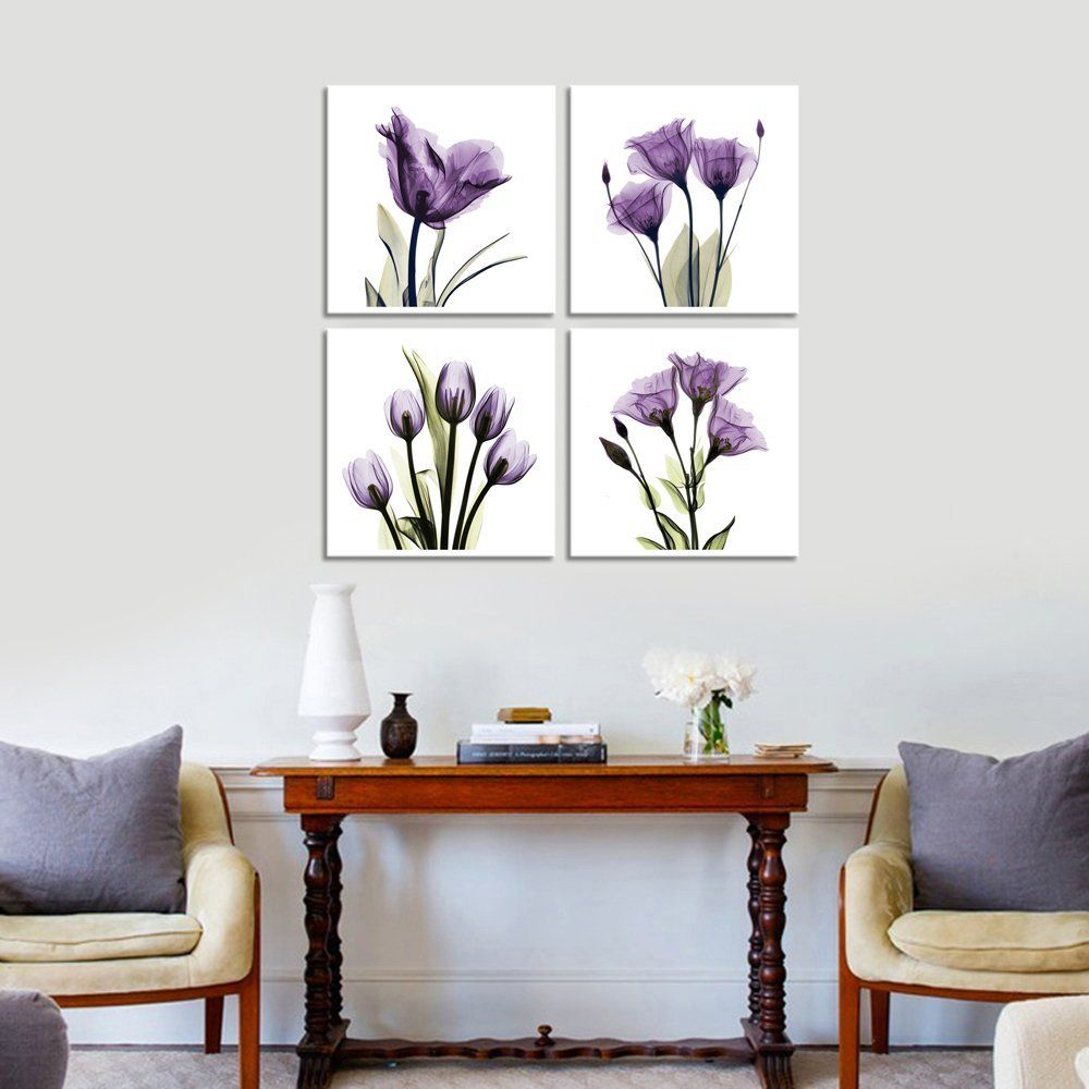 Amazon com hlj art 4 panel elegant tulip purple flower canvas print wall art