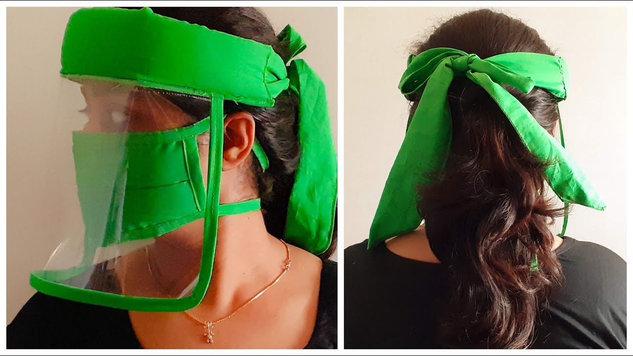 Easy diy face shield with tie up no elastic face shield
