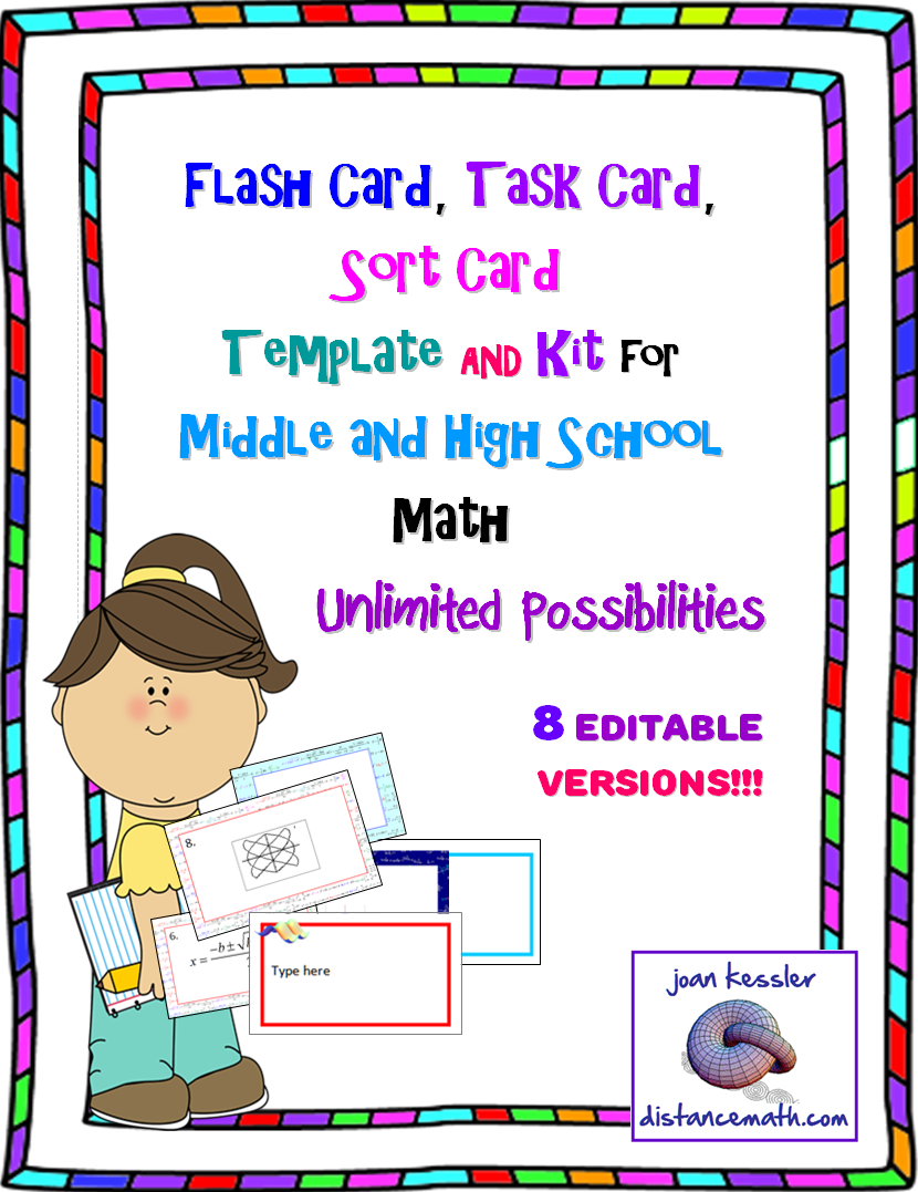 Flash Card Task Card Sort Card Or Name Tag Template Kit For Middle And High School Math 80 Cards 8 St High School Math Teachers Pay Teachers Freebies Math