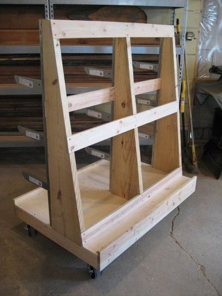 Sheet goods and wood storage cart cool garage ideas