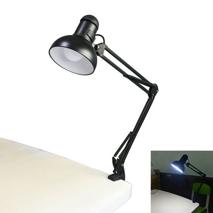 Jiawen 5W E27 LED White 6500K 400lm Foldable Clip-on Reading Light Desk Lamp - Black (AC110~220V)