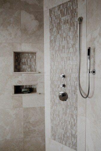 silver verona tile shower Creative Tile Layout Ideas bathroom