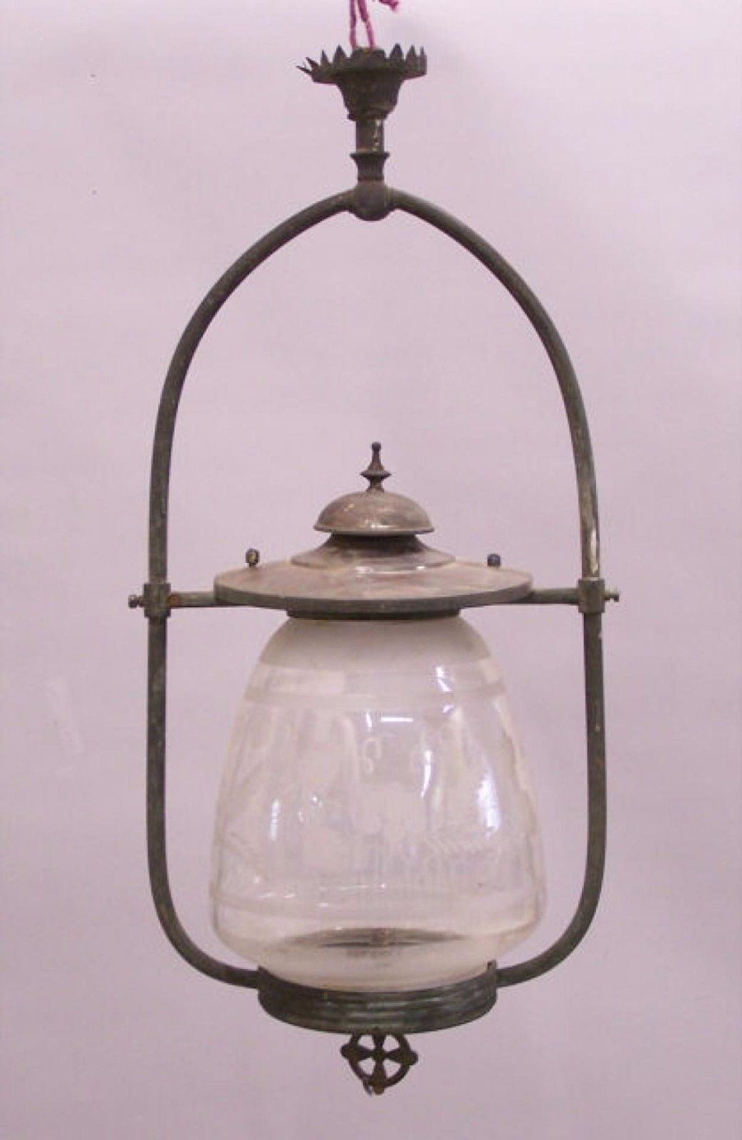 Antique Victorian Hanging Etched Glass Gas Light Fixture C1880 Antique Light Fixtures Gas Lights Victorian Lighting