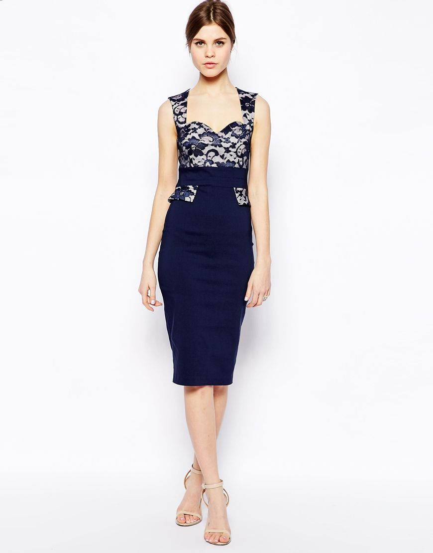 b0495d90c Vesper Sexy Pencil Dress with Lace Sweetheart and Peplum Detail ...