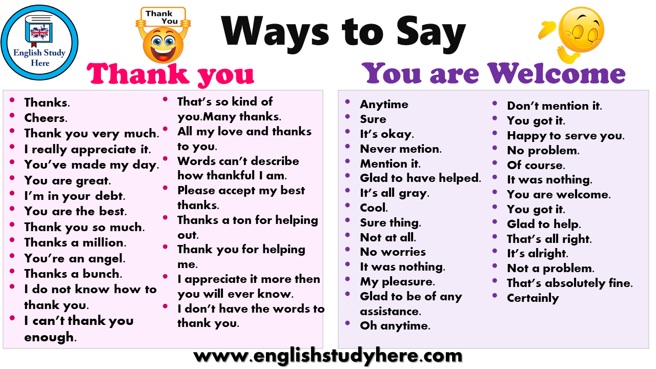 Ways To Say Thank You And You Are Welcome Learn English Words English Study Learn English Vocabulary