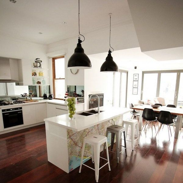 20+ Cool Kitchen Island Ideas Pendant lighting, Tables and Stools