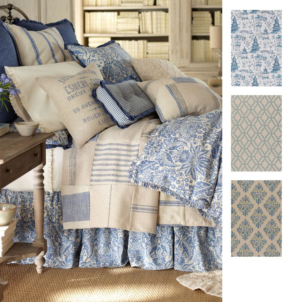 Blue french bedding - Google Search | GUEST BEDROOM | Pinterest