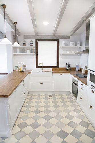 Cocinas Baldosa hidraulica, Suelo hidraulico, Zelart | Cocinas con ...