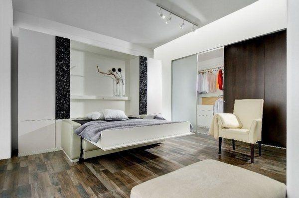 Studio Apartment Furniture White Murphy Bed With Sofa Closet Armchair Modern Lighting