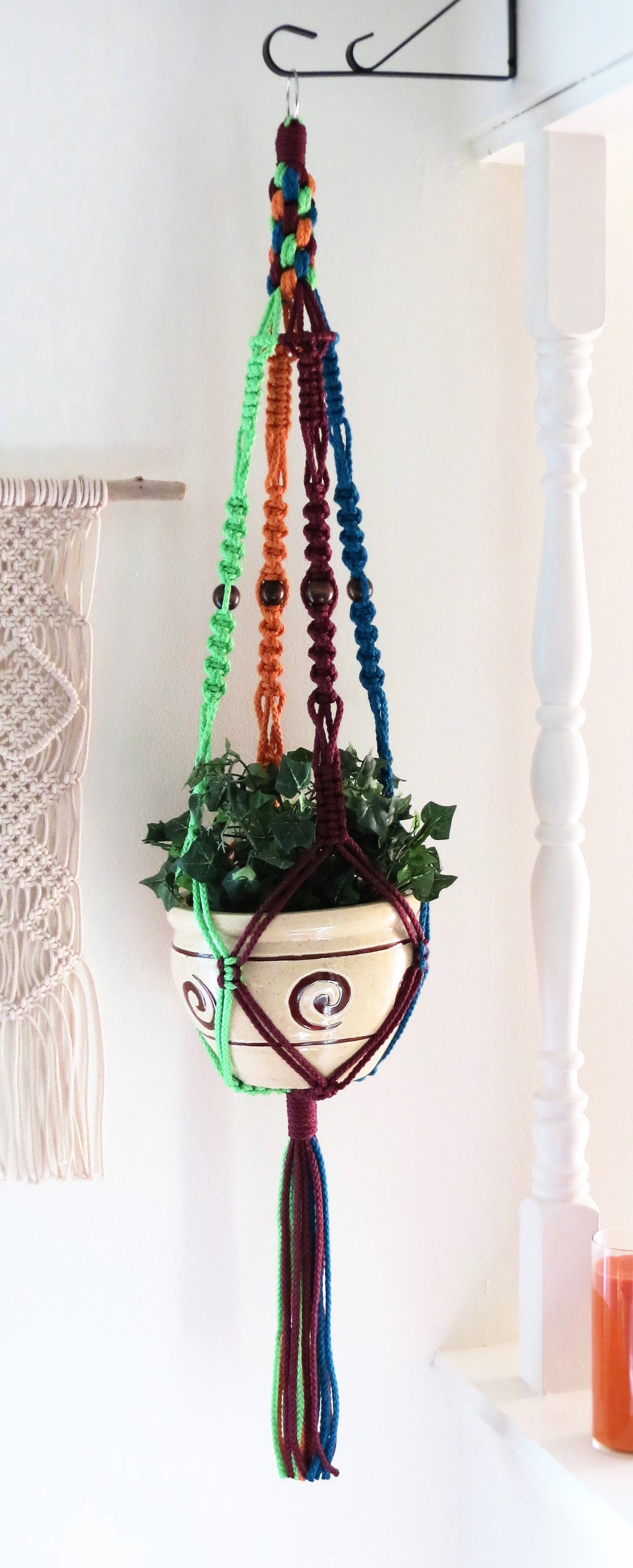 multicolored macrame hanging planter macrame plant hanger with