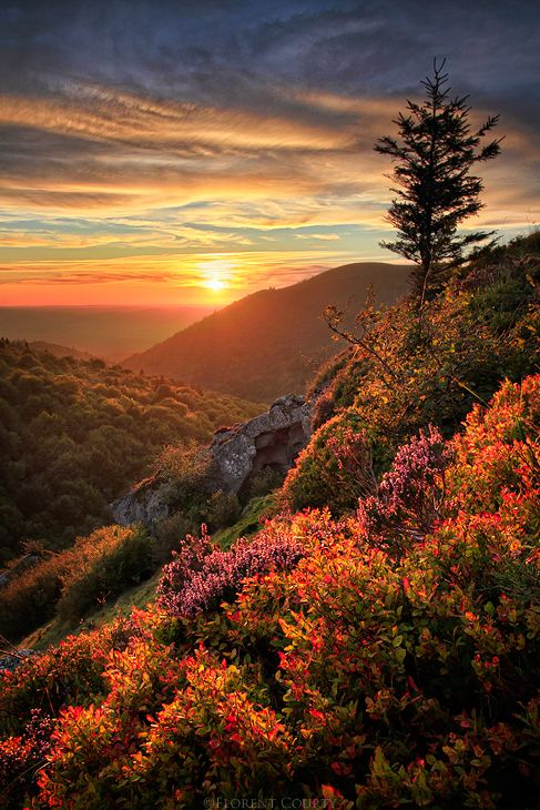 Solnedgång i vackra Puys, Frankrike