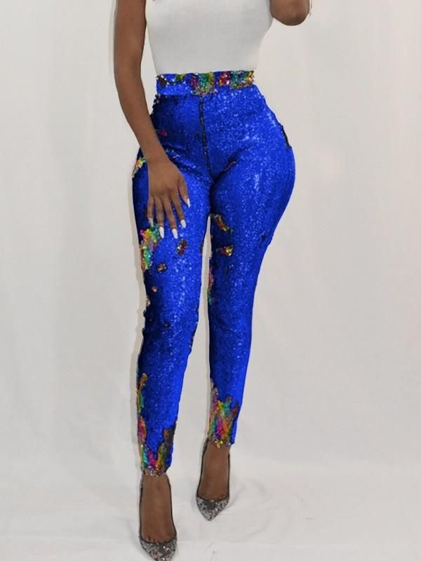 New Blue Patchwork Sequin Sparkly High Waisted Party Long Pant is part of Party Clothes Pants - Available Sizes  S;M;L;XL Length(cm)  S100cm; M101cm; L102cm; XL103cm; 2XL104cm; 3XL105cm Waist(cm)  S66cm; M70cm; L74cm; XL78cm; 2XL82cm; 3XL86cm Hip(cm)  S90cm; M94cm; L98cm; XL102cm; 2XL106cm; 3XL110cm Type  Slim Material  Dacron Pattern  Patchwork Length Style  Long Decoration  Sequin Col