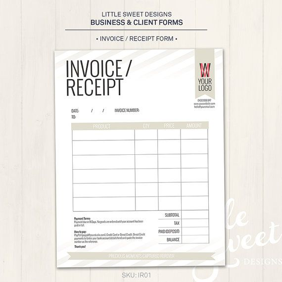 Photography Studio   Invoice Receipt Form - Photoshop Template for - invoice receipt template