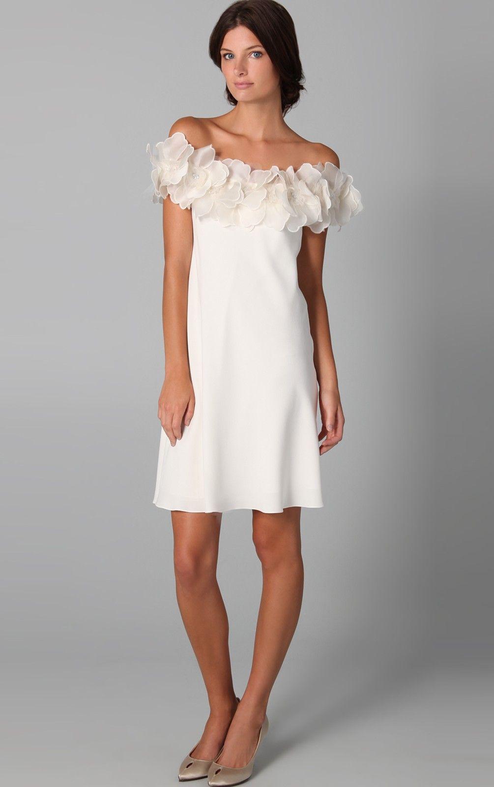 Amazing Aline Short Off The Shoulder White Chiffon Dress