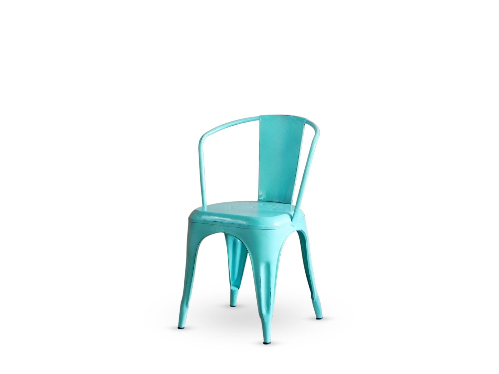 Outdoor Chairs Industrial Dining Chair With Arms In Turquoise Blue