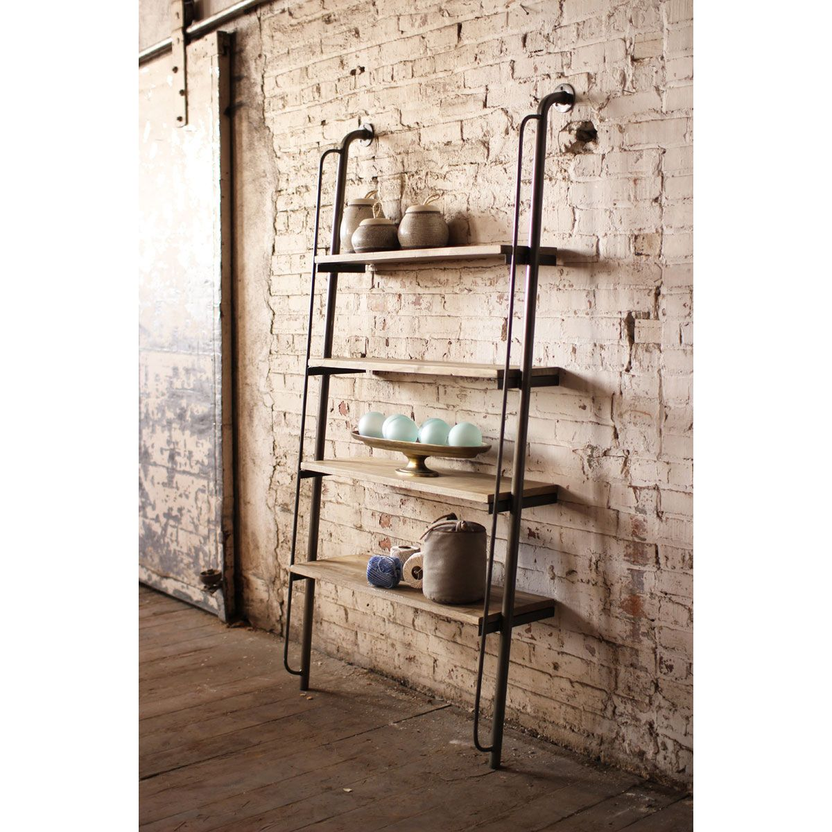 Delightful Metal And Wood Shelves Leaning Wall Shelving Unit With Skewed Iron Pipe  With A Wooden Plank Leaning On A Brick Wall With Design Four Board Of  Unique Awesome ... Design