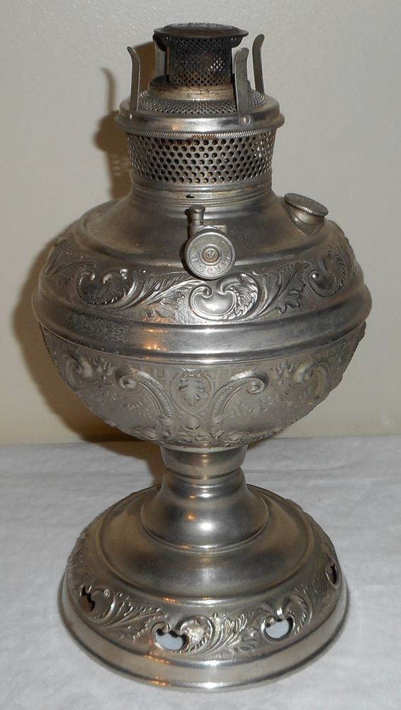 Charles Parker Fully Embossed 2 Stand Courter Center Draft Oil Lamp Collection Oil Lamps Lamp Banquet Lamp