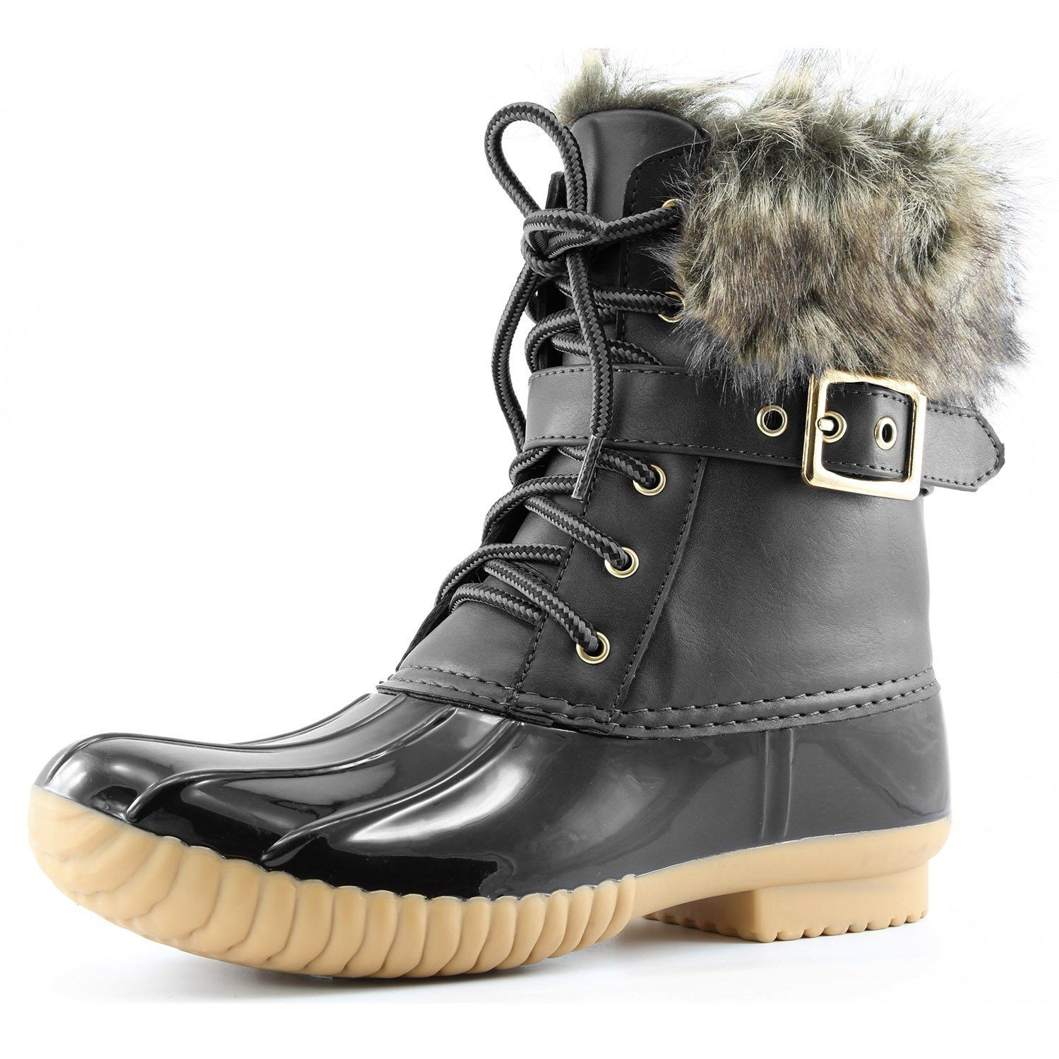 Women's Lace Up Faux Fur Padded Snow Winter Duck Boots