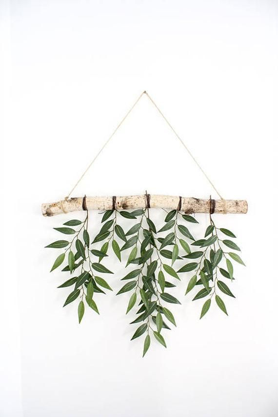 Birch branch wall hanging with real looking Similax leaves! Complete with twine thread for hanging perfectly near a window or on a wall in any space! *Please note that birch branch sizes may slightly vary
