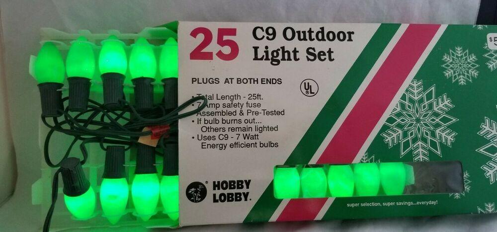 C9 Outdoor Green Christmas Light Set Hobby Lobby 25 ft 7