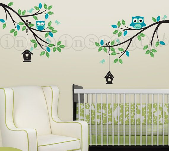 Double Branch with Adorable Owls and Hanging Birdhouses ...