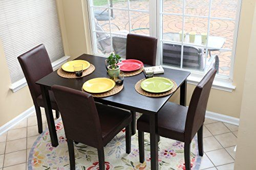 5 PC Espresso Leather Brown 4 Person Table and Chairs Brown Dining ...
