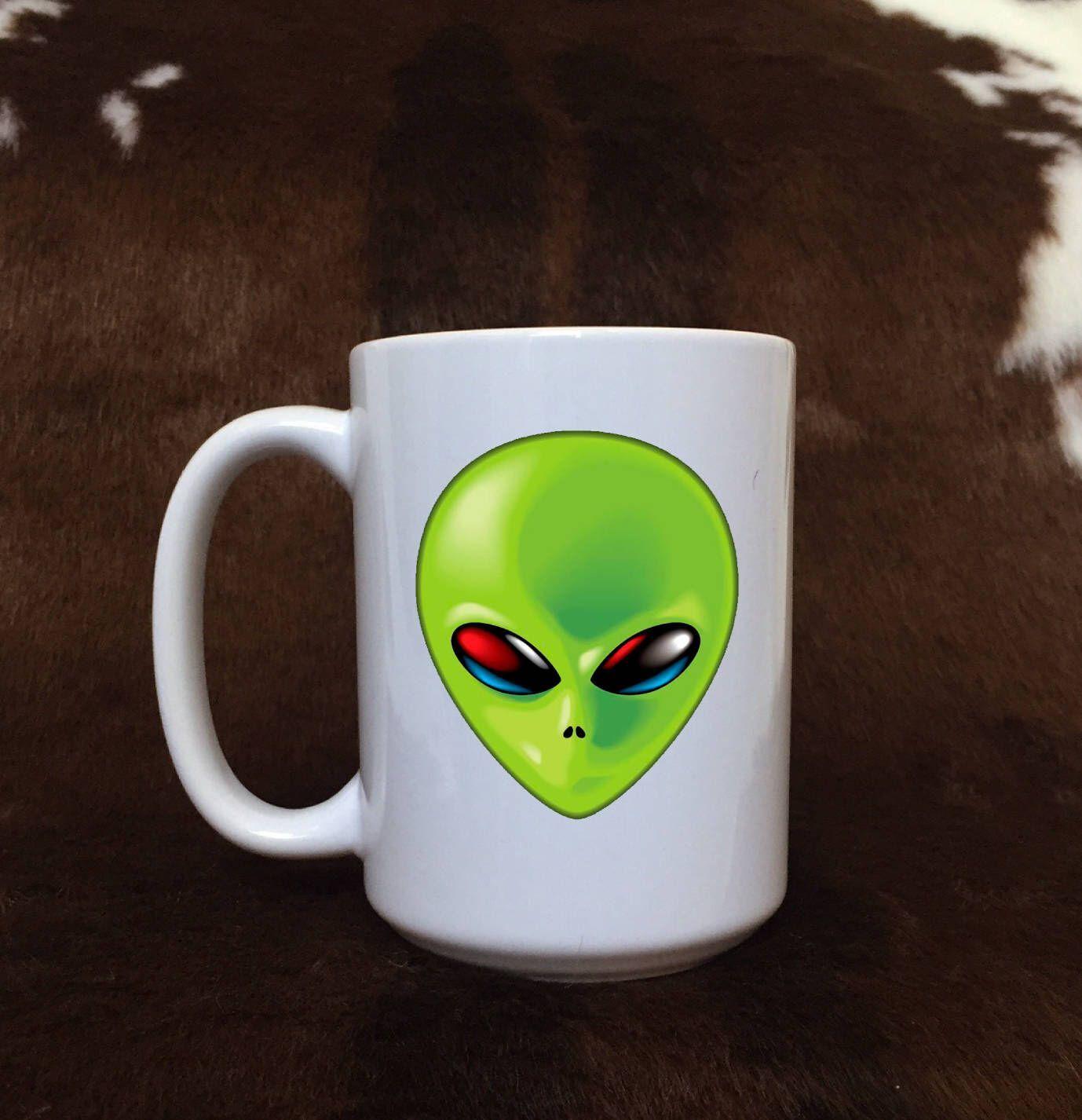 Alien mug, monster coffee mug, green alien, coffee lovers