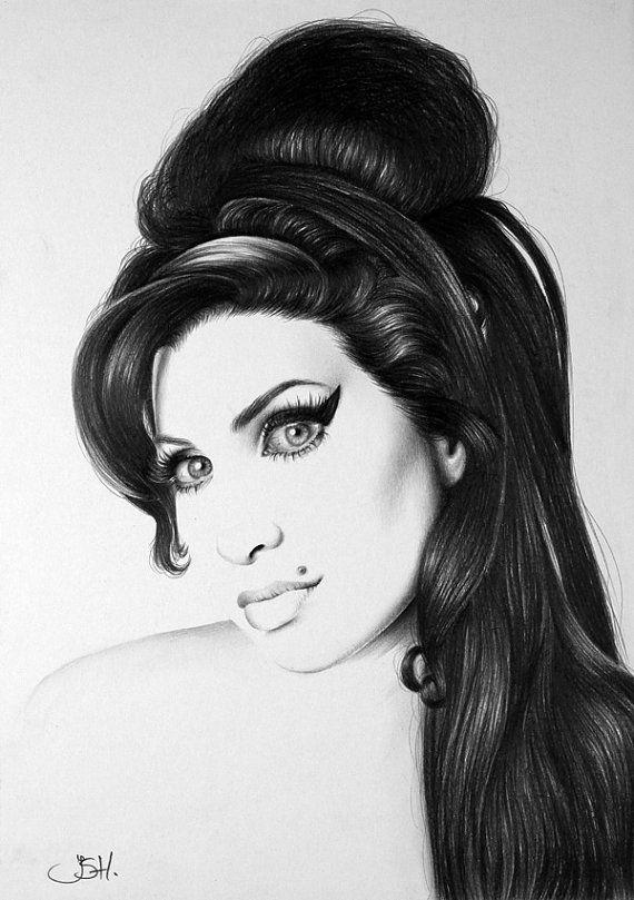 Amy Winehouse Pencil Drawing Fine Art Print Por Ileanahunter