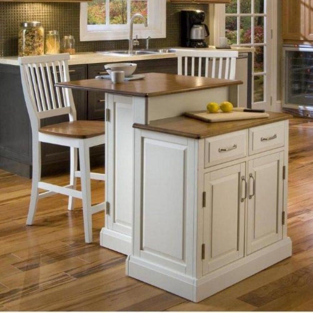 Charmant Home Styles Woodbridge Two Tier Kitchen Island 3 Pc. Set With 2 Stools    White U0026 Oak   If You Think Two Is Better Than One, Then Youu0027ll Love The  Home Styles ...
