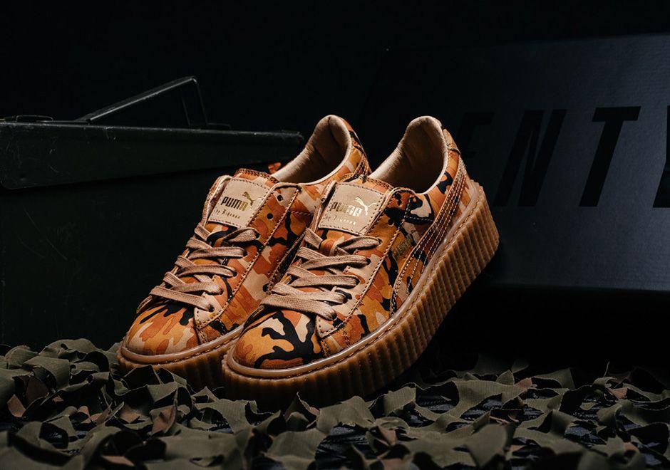 Puma Creepers Orange Camo | Suede creepers, Rihanna puma