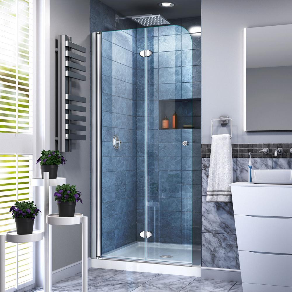 Dreamline Aqua Fold 29 5 In X 72 In Frameless Pivot Shower Door In Chrome With Handle Shdr 3630720 01 In 2020 Bifold Shower Door Shower Doors Frameless Shower Doors