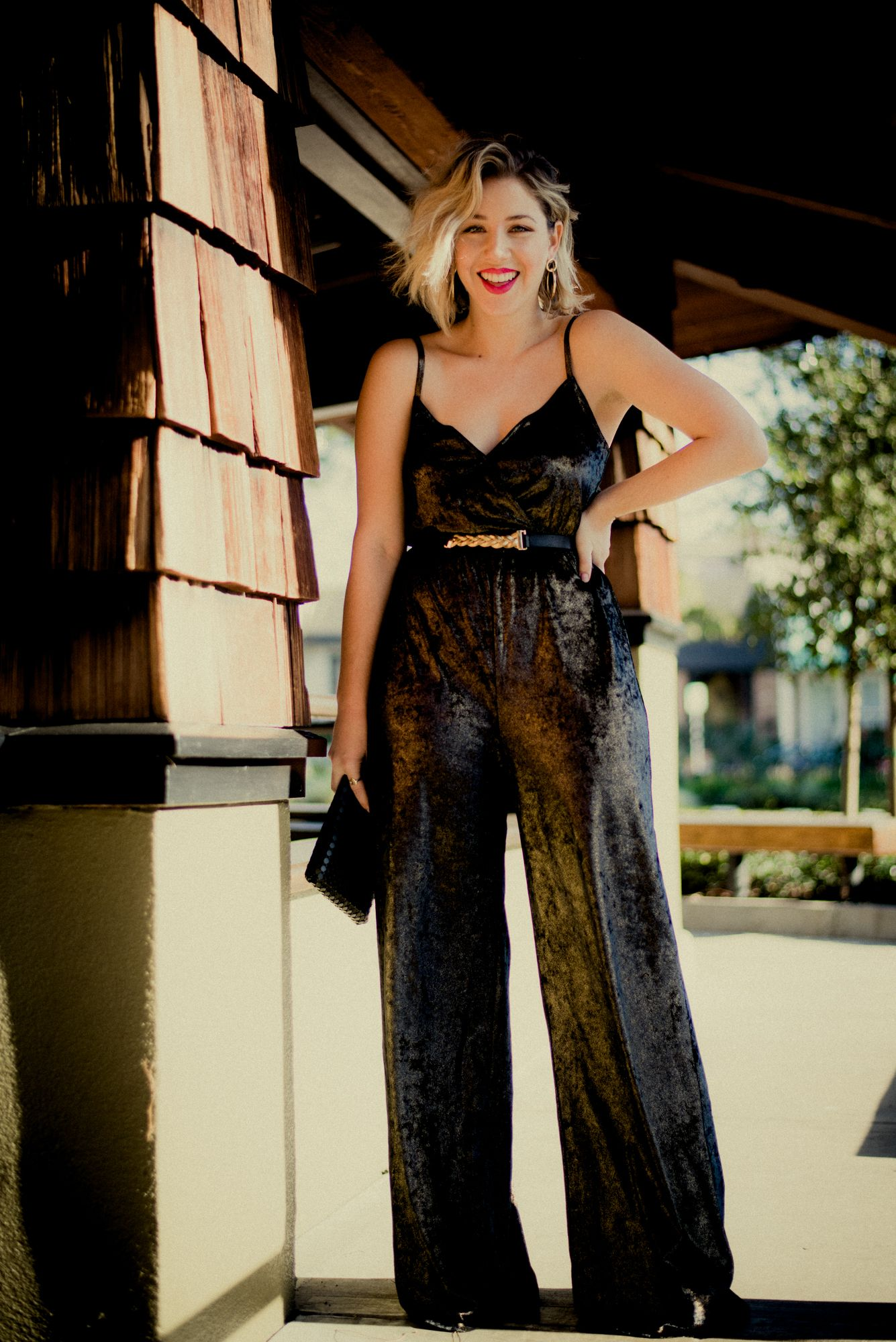 New Years Eve Outfit Ideas perfect for Curvy Girls. Try an empire waist  metallic jumpsuit by show me your mumu. Add accessories like a skinny belt  by ... a14e580b8