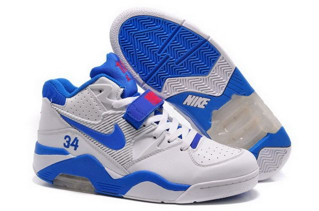 timeless design bd3e0 ad6d8 Nike Air Force 180 Mens Barkley White Gray Blue Red Hot Shoes
