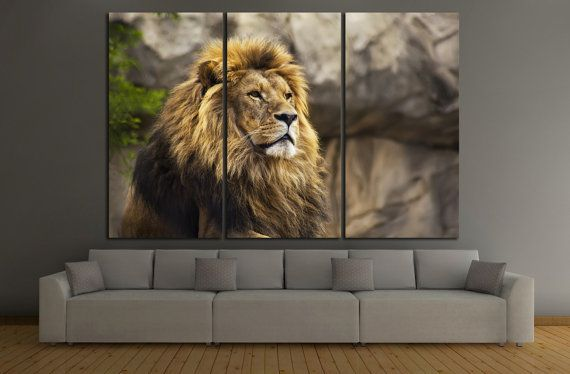 Captivating Lion Canvas Print Lion Wall Art Lion Wall Decor Lion Panel Art Lion Canvas Art  Lion