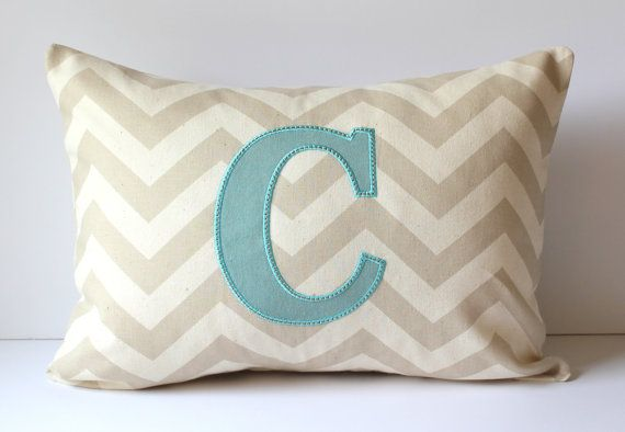 Initial Pillow Covers Unique Monogram Pillow Cover Chevron Applique 60 X 60 Custom