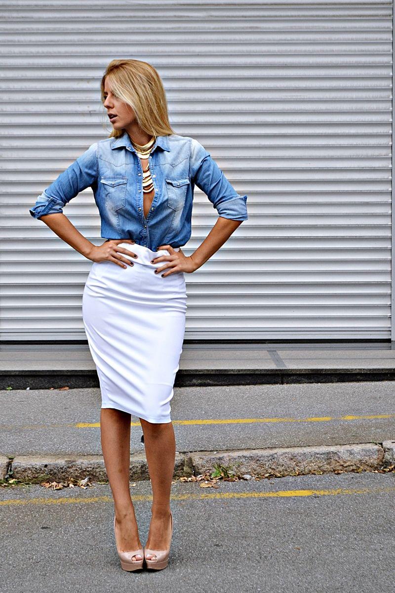 We Heart It: Denim Style for Spring   Denim shirt, White pencil ...