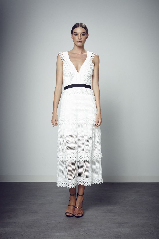 Elite wedding dresses  Shilla  The Elite Lace Trim Dress In White Restocked  Shilla
