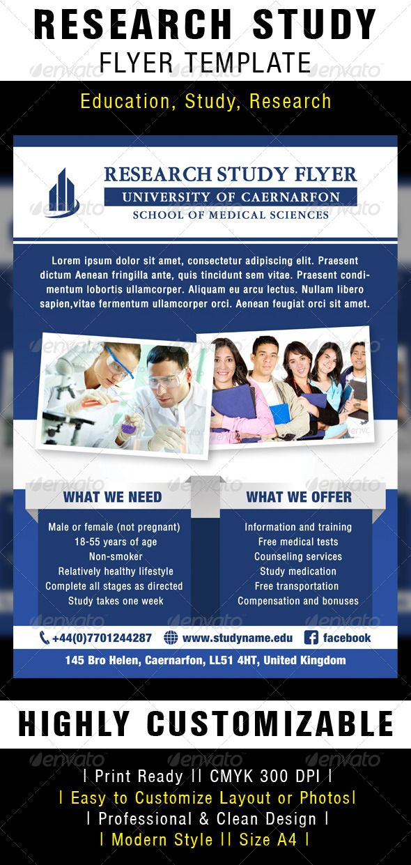research study flyer template photoshop psd education event