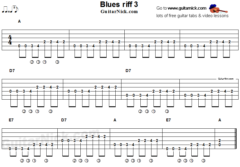 Acoustic Flatpicking Blues Guitar Riff Tab 3 Blues Guitar Music Theory Guitar Blues Guitar Lessons
