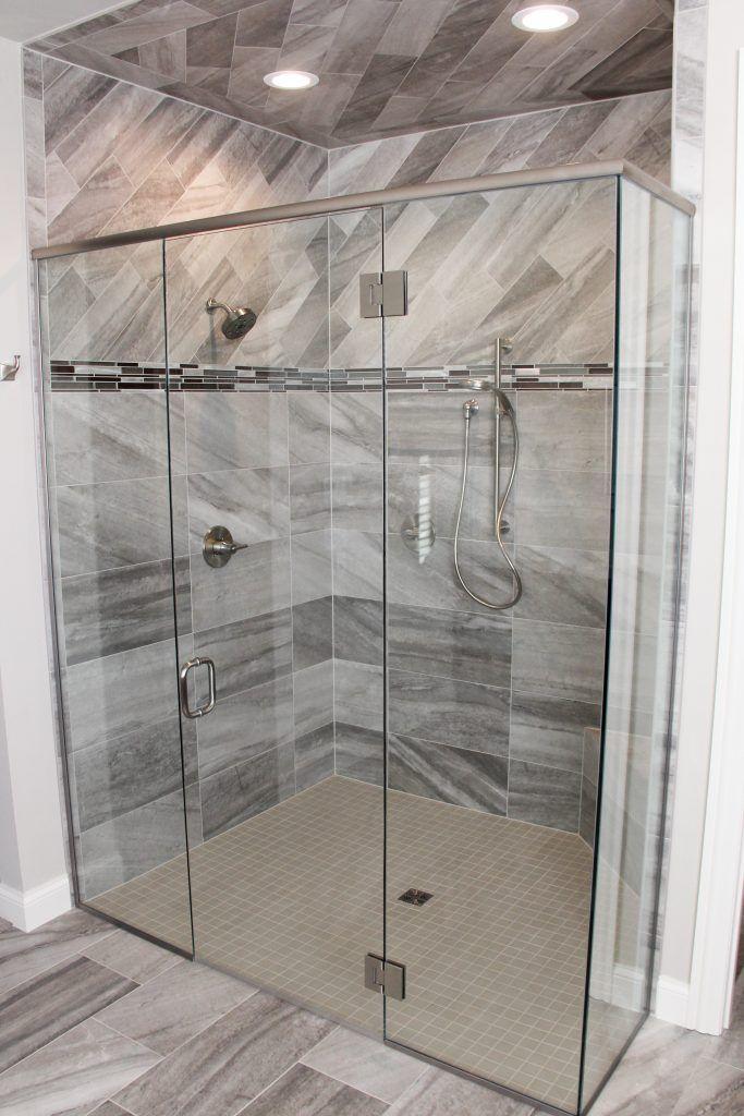 Tiled Shower Porcelain Angora Evolution Mica 6x24 And 12x24 Shower Floor Ceramic Mosaic Light Smoke 2x2 Sho Bathrooms Remodel Shower Floor Shower Tile