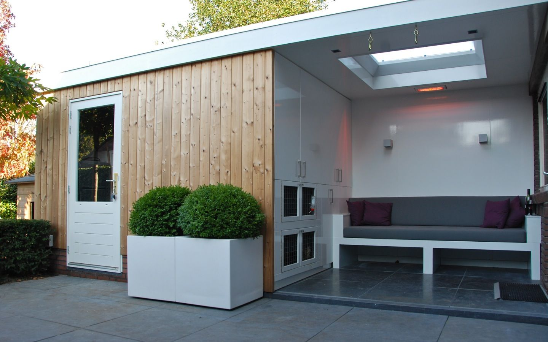 Tuinhuis met overdekte lounge in hoorn van veen tuinontwerpen tuinontwerp hovenier tuinaanleg - Overdekte patio pergola ...