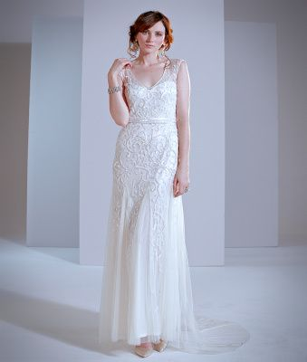 Phase Eight Elbertine Bridal Dress Ivory - Lace cap sleeves, almost a sheath