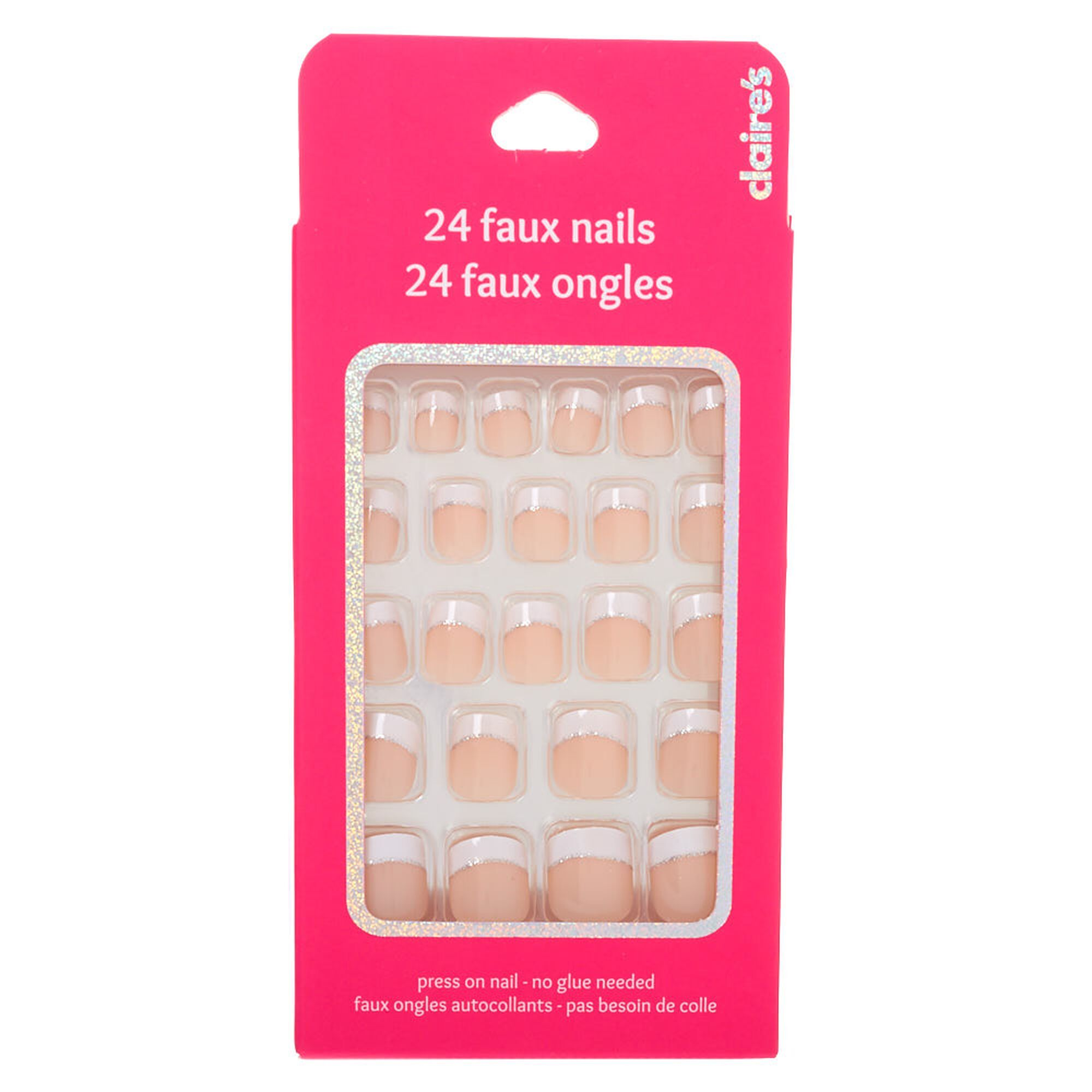 French Manicure With Glitter Accent Square Press On Faux Nail Set 24 Pack Glitter French Manicure Fake Nails French Fake Nails For Kids